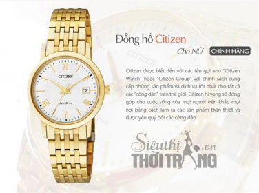 Đồng hồ nữ cao cấp Citizen Eco-Drive Gold Lady